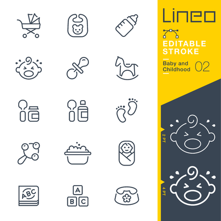 baby: Lineo Editable Stroke - Baby and Childhood outline icons. Vector Icons - Adjust stroke weight - Change to any color