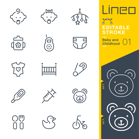 Lineo Editable Stroke - Baby and Childhood outline icons. Vector Icons - Adjust stroke weight - Change to any color