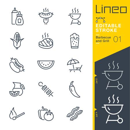 Lineo Editable Stroke - 바베큐 및 그릴 개요 아이콘. 벡터 아이콘 - 획 두께 조정 - 모든 색상 변경