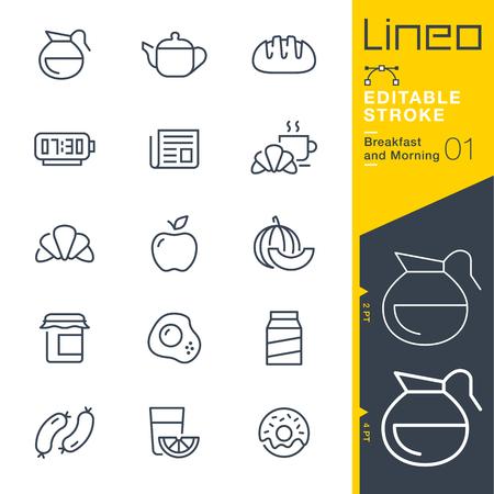 Lineo Editable Stroke - 아침 및 외곽선 개요 아이콘. 벡터 아이콘 - 획 두께 조정 - 모든 색상 변경 일러스트