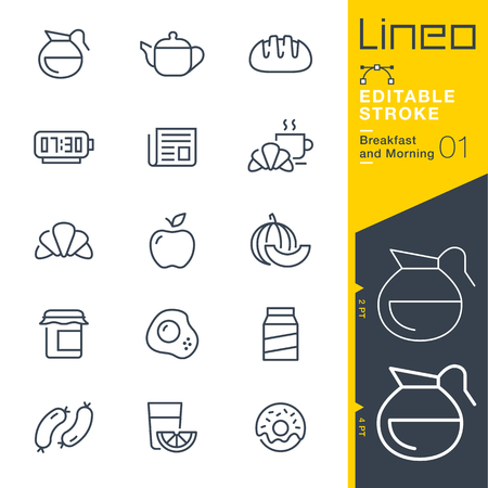 Lineo Editable Stroke - Breakfast and Morning outline icons. Vector Icons - Adjust stroke weight - Change to any color