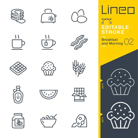 Lineo Editable Stroke - Ontbijt en Morning outline iconen. Vector Pictogrammen - Pas het gewicht aan - Pas op in welke kleur dan ook