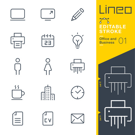 Lineo Editable Stroke - Office and Business outline icons. Vector Icons - Adjust stroke weight - Expand to any size - Change to any color. Иллюстрация