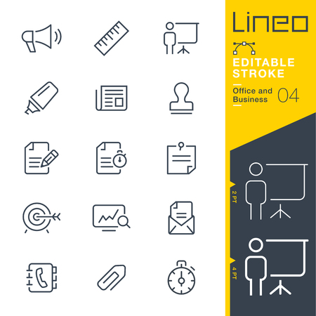 Lineo Editable Stroke - Office and Business outline icons. Vector Icons - Adjust stroke weight - Expand to any size - Change to any color.  イラスト・ベクター素材