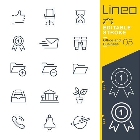 Lineo Editable Stroke - Office and Business outline icons Vector Icons - Adjust stroke weight - Change to any color Иллюстрация