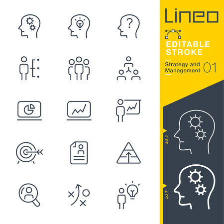 Lineo Editable Stroke - Strategy and Management outline icon Vector Icons - Adjust stroke weight - Change to any color Illustration