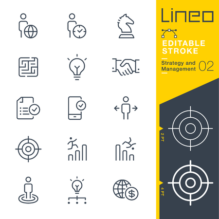 web: Lineo Editable Stroke - Strategy and Management outline icon Vector Icons - Adjust stroke weight - Change to any color Illustration