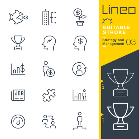business: Lineo Editable Stroke - Strategy and Management outline icon Vector Icons - Adjust stroke weight - Change to any color Illustration