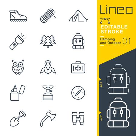voyage: Lineo Editable Stroke - Camping et les icônes de contour extérieur Icônes vectorielles - Ajuster le poids de la course - Changer à n'importe quelle couleur Illustration