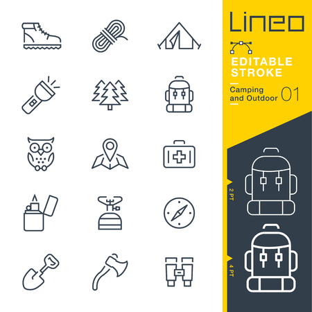 Lineo Editable Stroke - Camping and Outdoor outline icons Vector Icons - Adjust stroke weight - Change to any color Stok Fotoğraf - 78736417