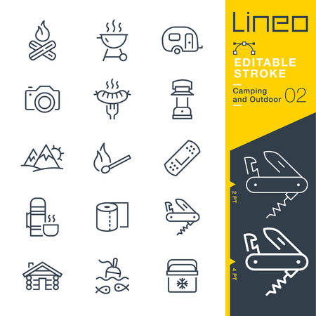mountaineering: Lineo Editable Stroke - Camping and Outdoor outline icons Vector Icons - Adjust stroke weight - Change to any color Illustration