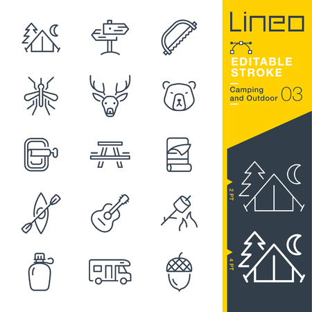 Lineo Editable Stroke - Camping and Outdoor outline icons Vector Icons - Adjust stroke weight - Change to any color Ilustração