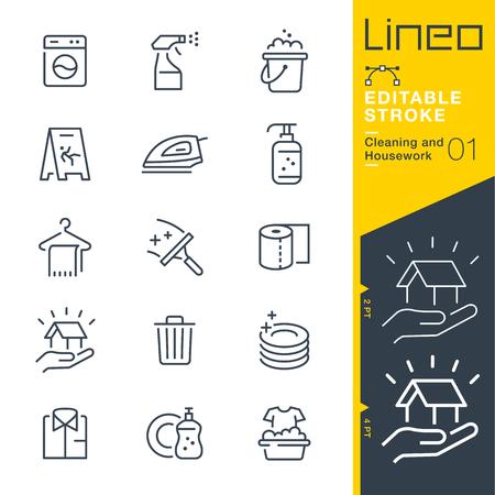 Lineo Editable Schlaganfall - Reinigung und Hausarbeit Linie Icon Vector Icons - Anpassen der Strichgewicht - Ändern Sie jede Farbe Vektorgrafik