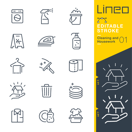 home keeping: Lineo Editable Stroke - Cleaning and Housework line icon Vector Icons - Adjust stroke weight - Change to any color
