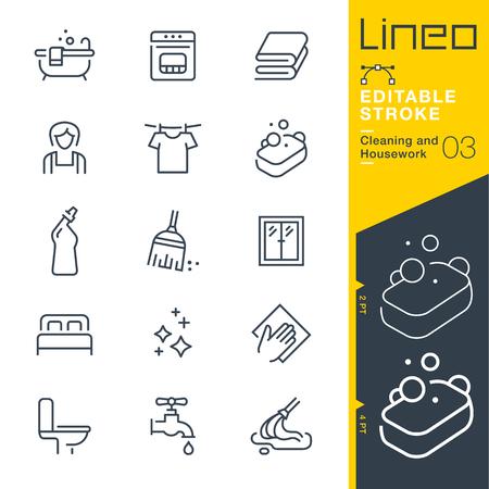 Lineo Editable Stroke - Limpieza y trabajo de casa icono de línea Iconos de Vector - Ajustar el peso del trazo - Cambiar a cualquier color Ilustración de vector