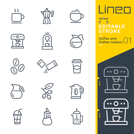 Lineo Editable Stroke - Coffee line icon Vector Icons - Adjust stroke weight - Change to any color Иллюстрация