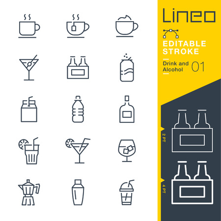 Lineo Editable Stroke - Drink and Alcohol line Icons - Adjust stroke weight - Change to any color 向量圖像