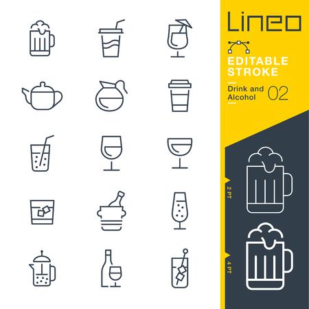 Lineo Editable Stroke - Icônes de ligne de boissons et d'alcool - Ajustez le poids de la course - Modifiez à n'importe quelle couleur