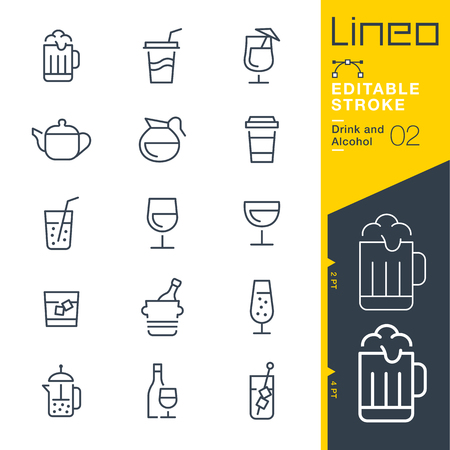 Lineo Editable Stroke - Drink and Alcohol line Icons - Adjust stroke weight - Change to any color Vettoriali