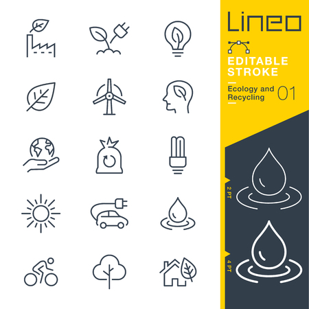 Lineo Editable Stroke - Ecology and Recycling line icon Vector Icons - Adjust stroke weight - Change to any color Vettoriali