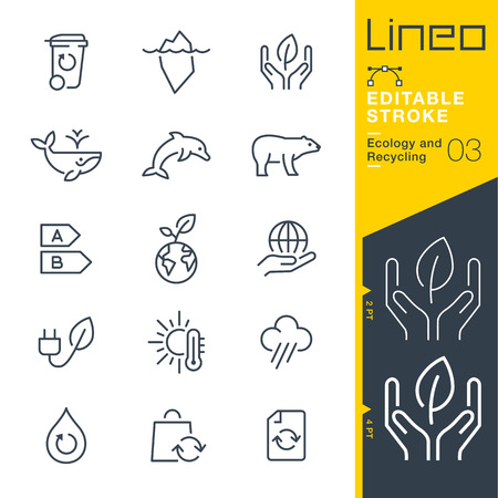 Lineo Editable Stroke - Ecology and Recycling line icon Vector Icons - Adjust stroke weight - Change to any color Illustration