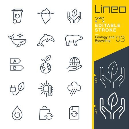 Lineo Editable Stroke - Ecologie et icône de la ligne de recyclage Icônes vectorielles - Ajuster le poids de la course - Changer à n'importe quelle couleur