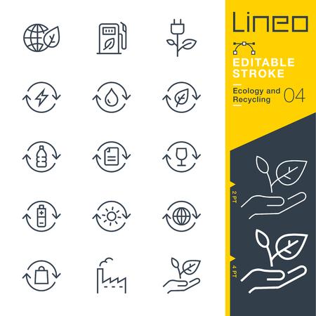Lineo Editable Stroke - 생태 및 재활용 라인 아이콘 벡터 아이콘 - 획 두께 조정 - 모든 색상 변경 스톡 콘텐츠 - 79077829
