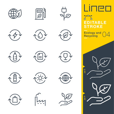 icon vector: Lineo Editable Stroke - Ecology and Recycling line icon Vector Icons - Adjust stroke weight - Change to any color Illustration