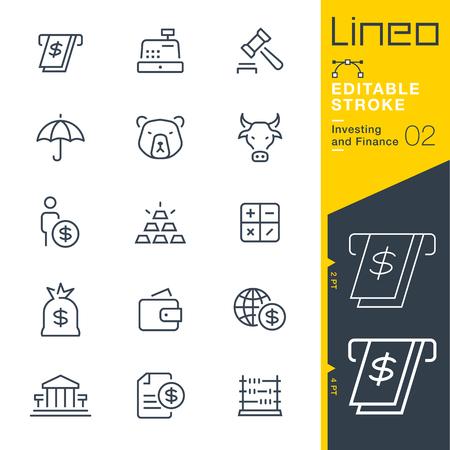 Lineo 편집 가능한 스트로크 - 투자 및 금융 라인 아이콘 벡터 아이콘 - 획 두께 조정 - 모든 색상 변경 스톡 콘텐츠 - 79159784