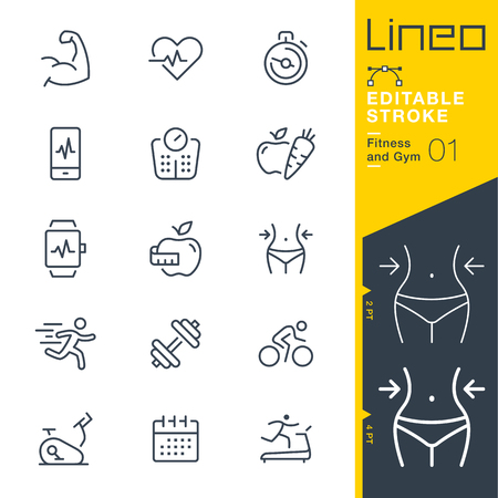 sports equipment: Lineo Editable Stroke - Fitness and Gym line icon Vector Icons - Adjust stroke weight - Change to any color Illustration