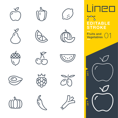Lineo Editable Stroke - Fruits and Vegetables line Vector icons - Adjust stroke weight - Change to any color  イラスト・ベクター素材