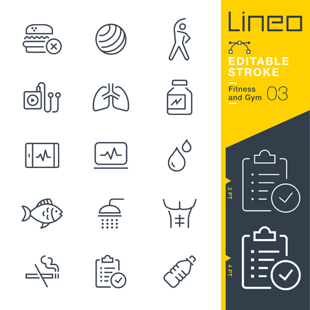 sign: Lineo Editable Stroke - Fitness and Gym line icon Vector Icons - Adjust stroke weight - Change to any color Illustration