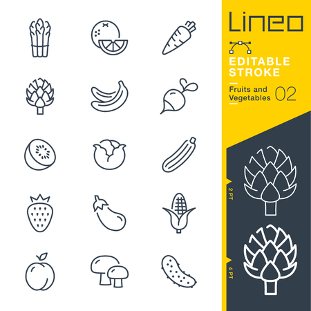 Lineo 編集可能なストローク - - 線幅の調整 - 果物や野菜の線ベクトルのアイコンを任意の色に変更  イラスト・ベクター素材