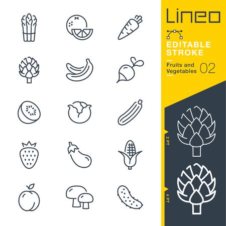 Lineo Editable Stroke - Fruit en Groenten lijn Vector pictogrammen - Pas slaggewicht aan - Verander naar elke kleur
