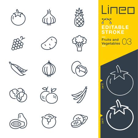 Lineo 편집 가능한 스트로크 - 과일 및 야채 라인 벡터 아이콘 - 획 두께 조정 - 모든 색상 변경 일러스트