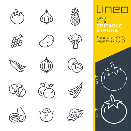 Lineo Editable Stroke - Fruits and Vegetables line Vector icons - Adjust stroke weight - Change to any color Çizim