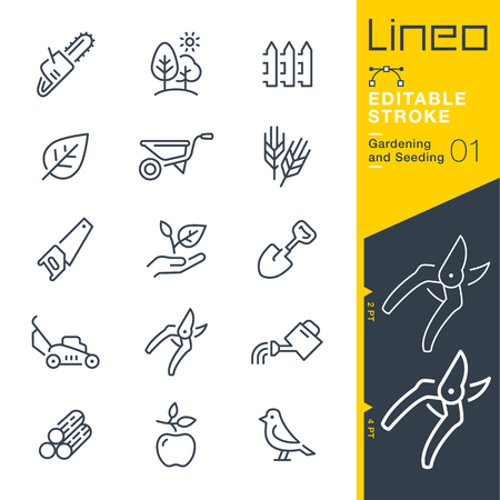 Lineo 편집 가능한 스트로크 - 원예 및 시드 줄 벡터 아이콘 - 획 두께 조정 - 모든 색상으로 변경 일러스트
