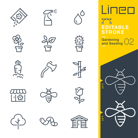 Lineo Editable Stroke - Gardening and Seeding line Vector icons - Adjust stroke weight - Change to any color Imagens - 79720333