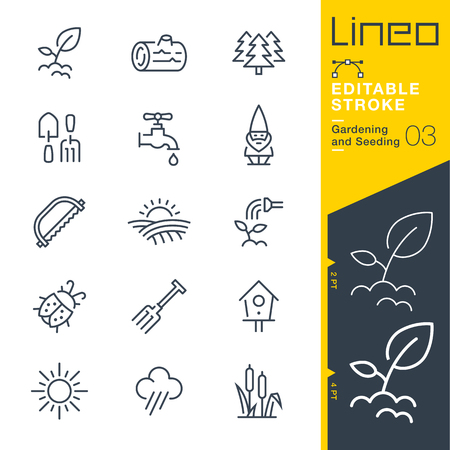 germinate: Lineo Editable Stroke - Gardening and Seeding line Vector icons - Adjust stroke weight - Change to any color