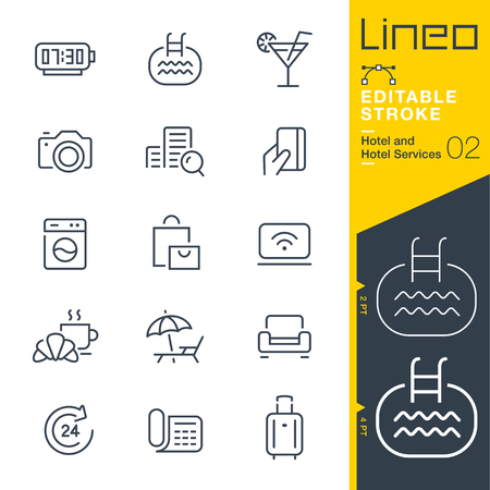 Lineo Editable Stroke - Hotel line icon Vector Icons - Adjust stroke weight - Change to any color 일러스트