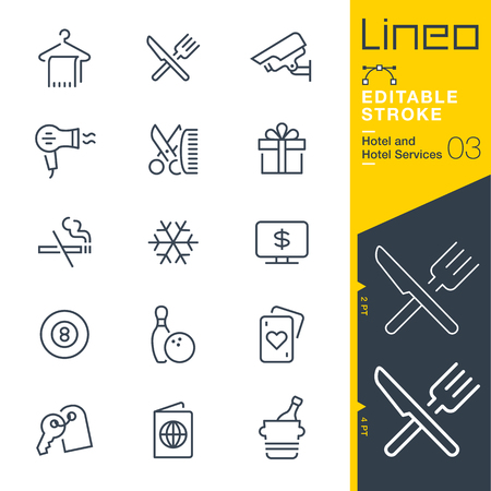 Lineo Editable Stroke - Hotel line icon Vector Icons - Adjust stroke weight - Change to any color Illustration