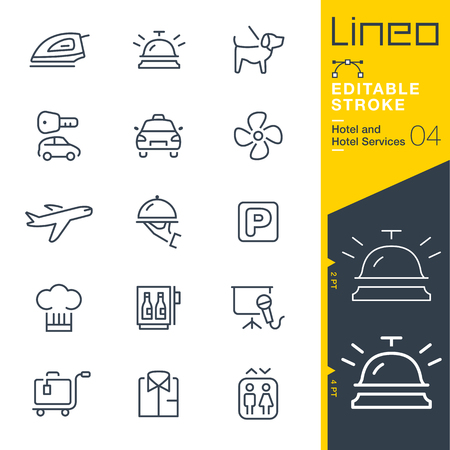 Lineo Editable Stroke - Hotel line icon Vector Icons - Adjust stroke weight - Change to any color 矢量图像