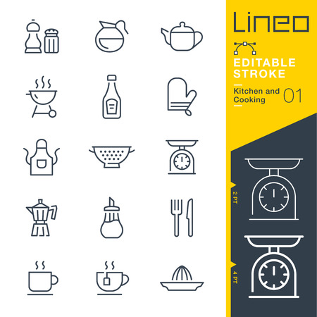 Lineo Editable Stroke - Kitchen and Cooking line Vector icons - Adjust stroke weight - Change to any color