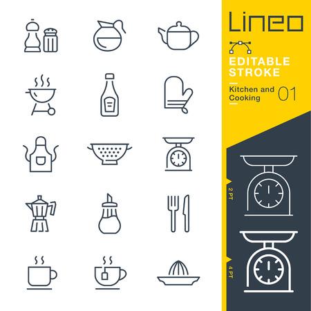 Lineo Editable Stroke - Küchen- und Kochlinie Vektorsymbole - Strichgewicht anpassen - Zu jeder Farbe wechseln Vektorgrafik