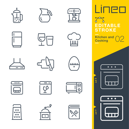 Lineo Editable Stroke - Kitchen and Cooking line Vector icons - Adjust stroke weight - Change to any color 免版税图像 - 81041419