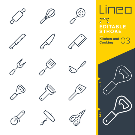 slotted: Lineo Editable Stroke - Kitchen and Cooking line Vector icons - Adjust stroke weight - Change to any color