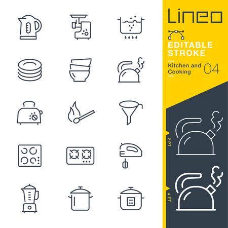 Lineo 편집 가능한 스트로크 - 주방 및 요리 라인 벡터 아이콘 - 획 두께 조정 - 모든 색상 변경 일러스트
