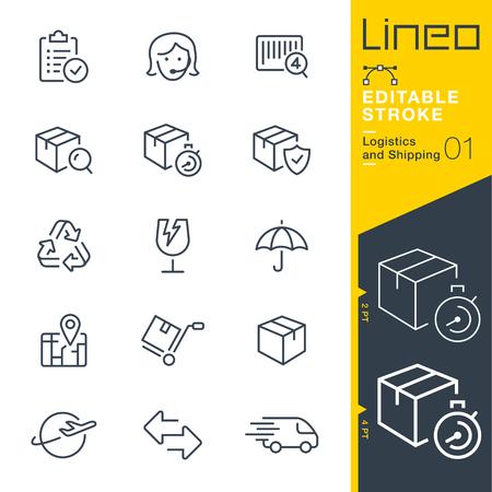 Linia do edycji obrysu - ikona linii logistyki i wysyłki Ilustracje wektorowe