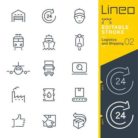 Lineo 편집 가능한 스트로크 - 물류 및 운송 라인 아이콘 일러스트
