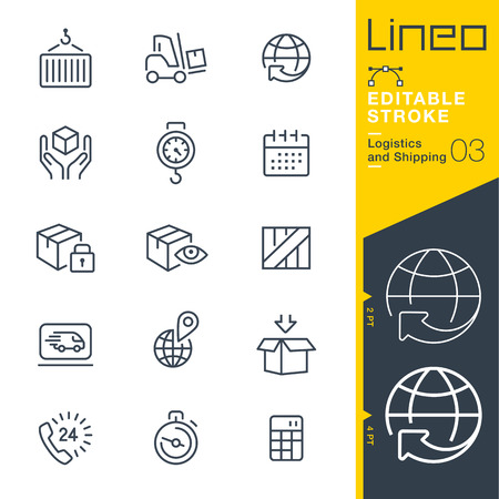 Lineo Editable Stroke - Logistics and shipping line icon  Adjust stroke weight - Change to any color